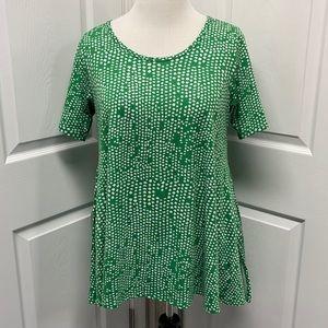 LuLaRoe Green & White Geometric Perfect T Shirt